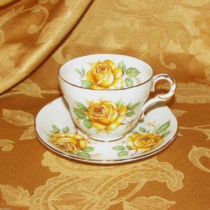 ADDERLEY BONE CHINA FOOTED TEACUP YELLOW ROSES